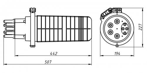 Муфта МВОТ-216-4-Т-1-36 КИП-02 оптическая тупиковая